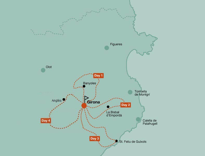 Map of the road bike tour Girona Classic Climbs