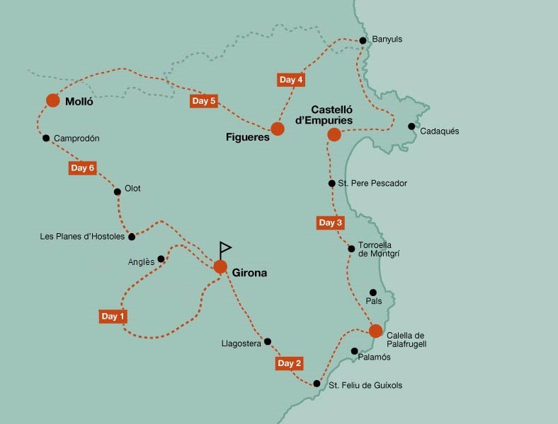 Map of the road bike tour Cols of Pyrenees and Costa Brava