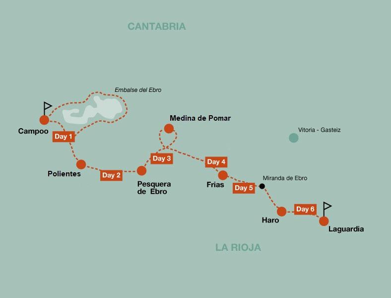Map of the Descent of the Ebro river and La Rioja bike tour