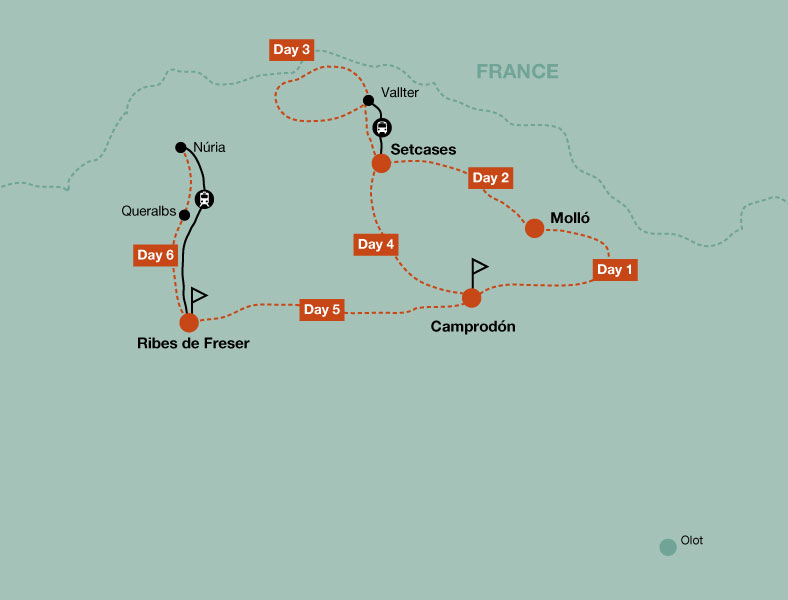 Map of the hiking tour in the Catalan Pyrenees