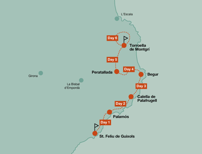 Map of the walking tour in the Costa Brava