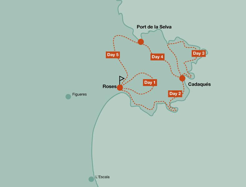 Map of the walking tour in Cap de Creus