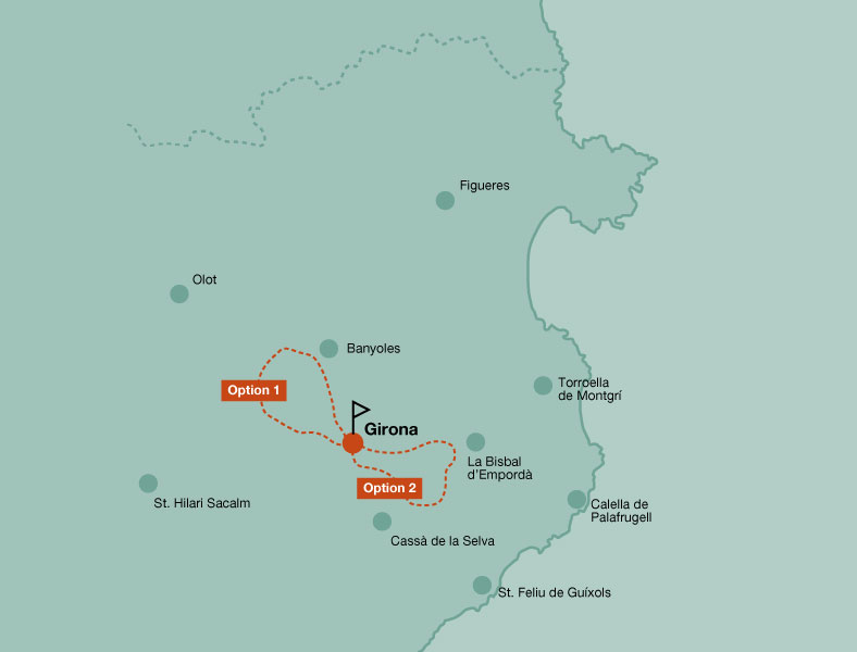 Map of the mountain bike day rides in Girona