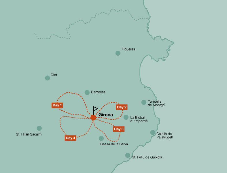 Map of the mountain bike tour Girona single tracks
