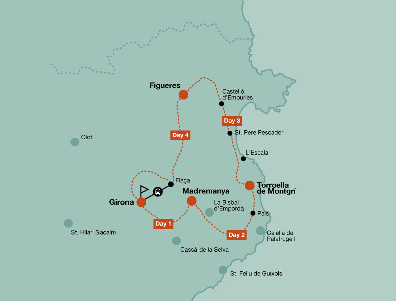 Map of the mountain bike tour of Great Tour of the Emporda