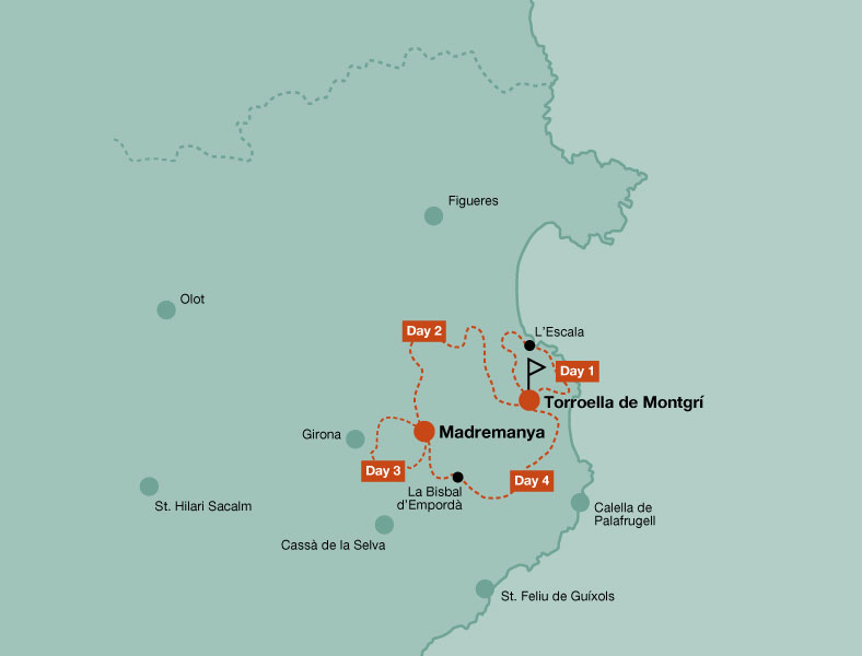 Map of the mountain bike tour of Costa Brava