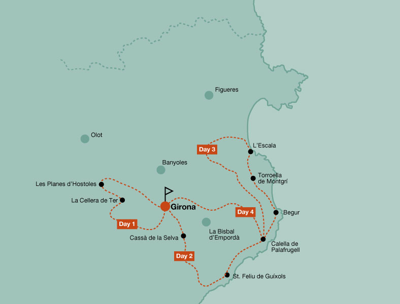 Map of the road bike tour Girona and Costa Brava
