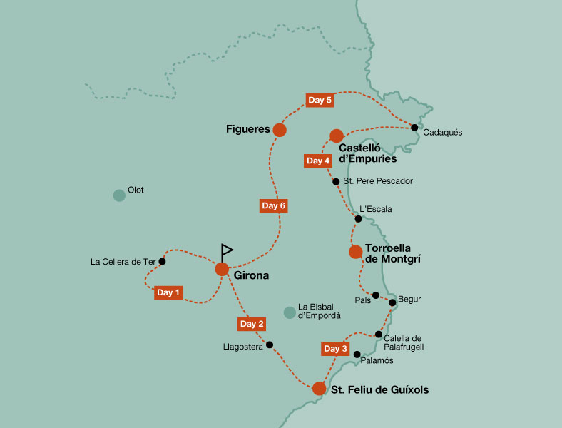 Map of the road bike tour Great Tour of Emporda Cycling Dali