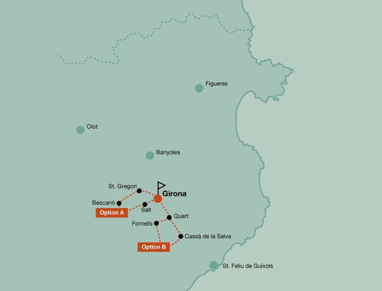 Map of the touring bike day trip in Girona