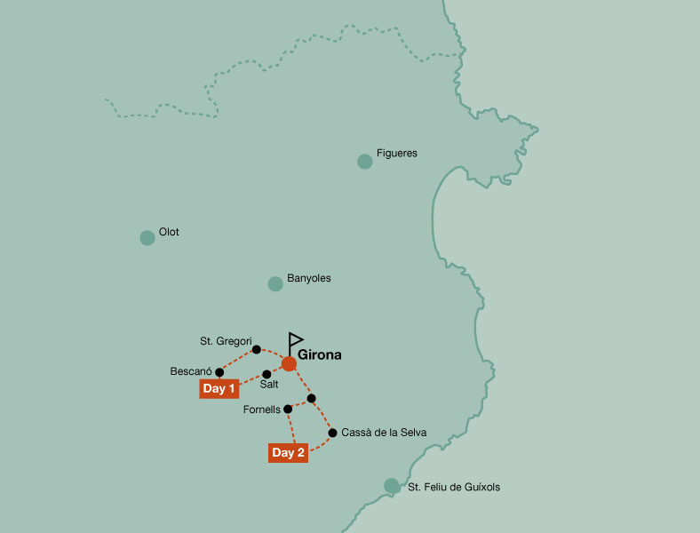 Map of the touring bike tour of 2 days rides in Girona