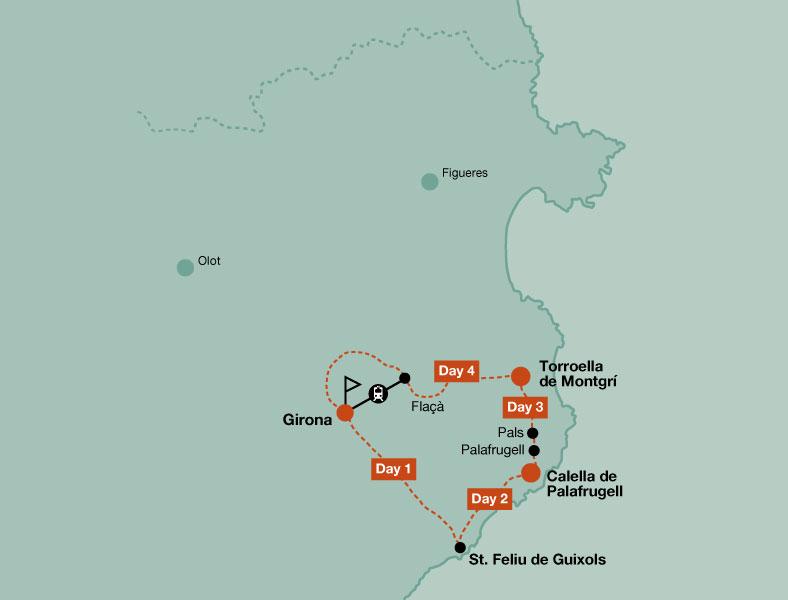 Map of the touring bike tour of Girona and Costa Brava