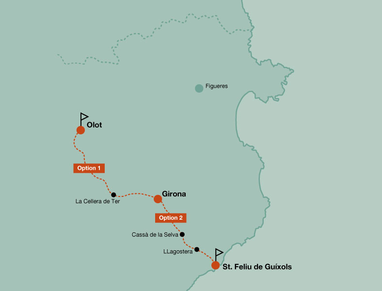 Map of the touring bike tour  1 day in the Greenways of Girona