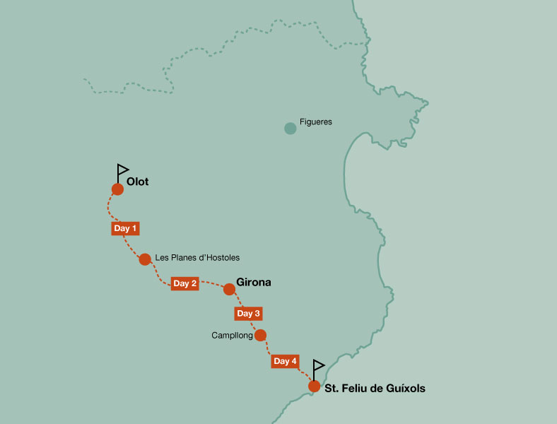 Map of the touring bike tour of Greenways of Girona family trip