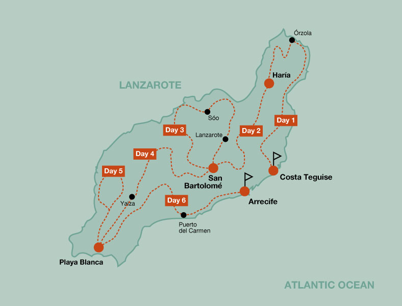 Map of the touring bike tour Lanzarote by bike