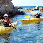 Kayaking in the Mediterranean sea