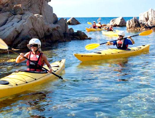 Kayaking in the Mediterranean sea